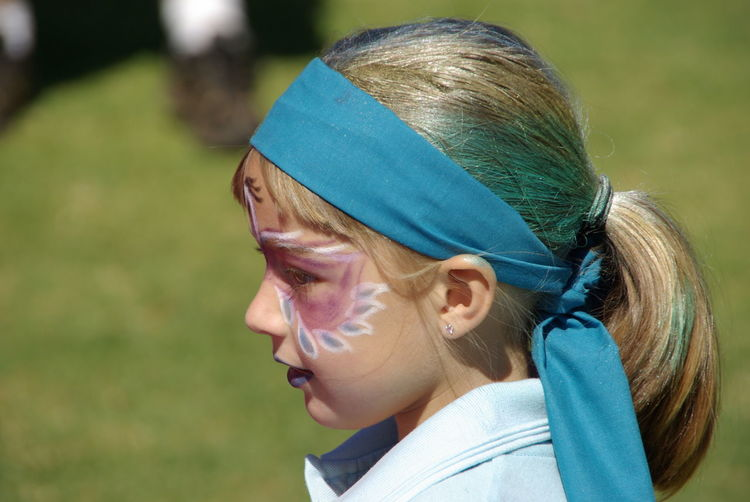 Blue Close-up Cute Girl Fun Headshot Painted Face Painted Face Girl Portrait