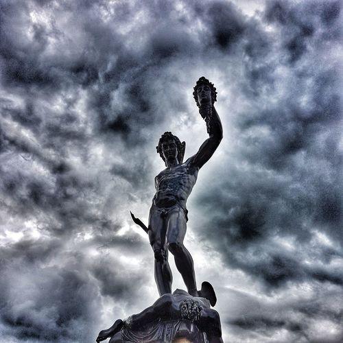 Cloud - Sky Sky Statue Outdoors Sculpture Low Angle View Art Storm Cloud Storm No People Perseus Medusa
