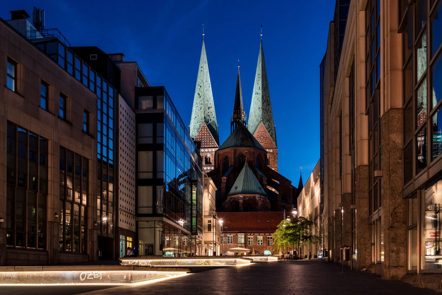 Marienkirche Clear Blue Sky Modern Architecture Nightphotography Nikon Trees Architecture Artifical Lightning Blue Building Exterior Built Structure Church Towers City Copper Roof Day Iluminated Marienkirche Lübeck Night Nikonphotography No People Old Buildings Outdoors Place Of Worship Religion Sky Spirituality Travel Destinations