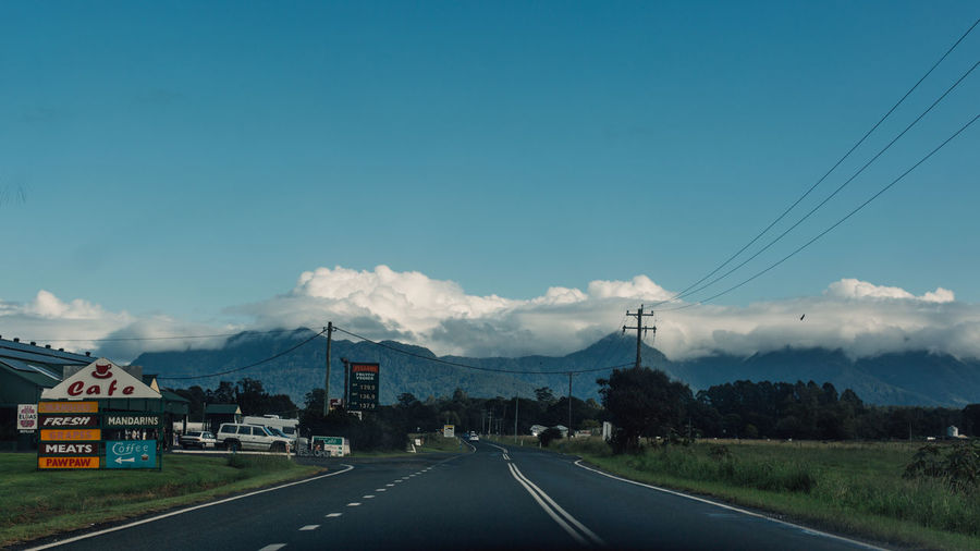 Road against sky in city