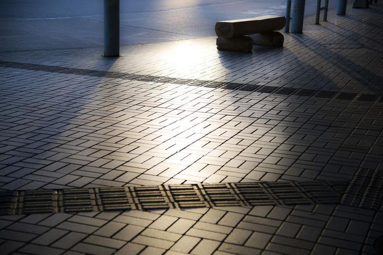 Surface level of cobblestone street