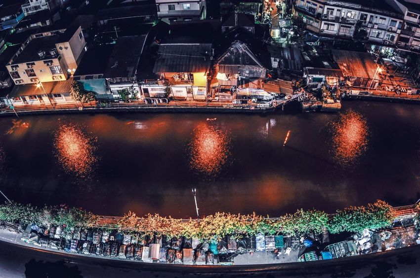 Saen Saep Canal, Bobae, Bangkok, Thailand Night Illuminated Building Exterior Cityscape City Architecture Outdoors Travel Destinations Water Urban Skyline Nautical Vessel Built Structure Harbor Sport Bridge - Man Made Structure Stadium No People Bangkok