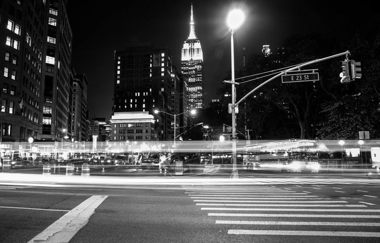 23rd St. 500px Empire State Building EyeEm Best Shots EyeEmNewHere Manhattan NYC Street Photography VSCO Architecture Blackandwhite Bnw City Life High Street Illuminated Light Trail Long Exposure Motion Night No People Road Sky Skyscraper Street Street Light