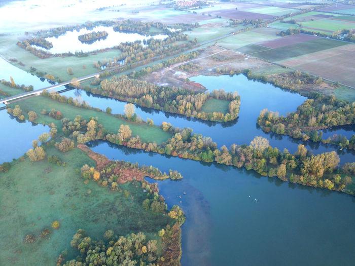 High angle view of lake and trees