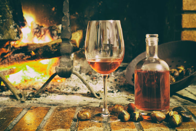 Abruzzo Alcohol Bottle Burning Castagne Cerasuolo Chestnuts Chestnuts And Wine Chestnuts For Roasting Close-up Day Drink Drinking Glass Flame Freshness Heat - Temperature Nature No People Outdoors Perano Red Wine Wine Wine Glass Wineglass Winetasting
