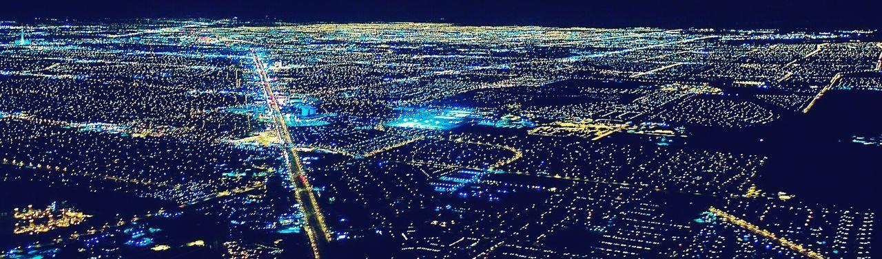 A Bird's Eye View City Night L.V  Glowing