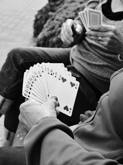 40 years of card games together Leisure Games Cards Playing Holding Hands Human Hand Close-up Human Body Part Fresh on Market 2017 Streetphotography