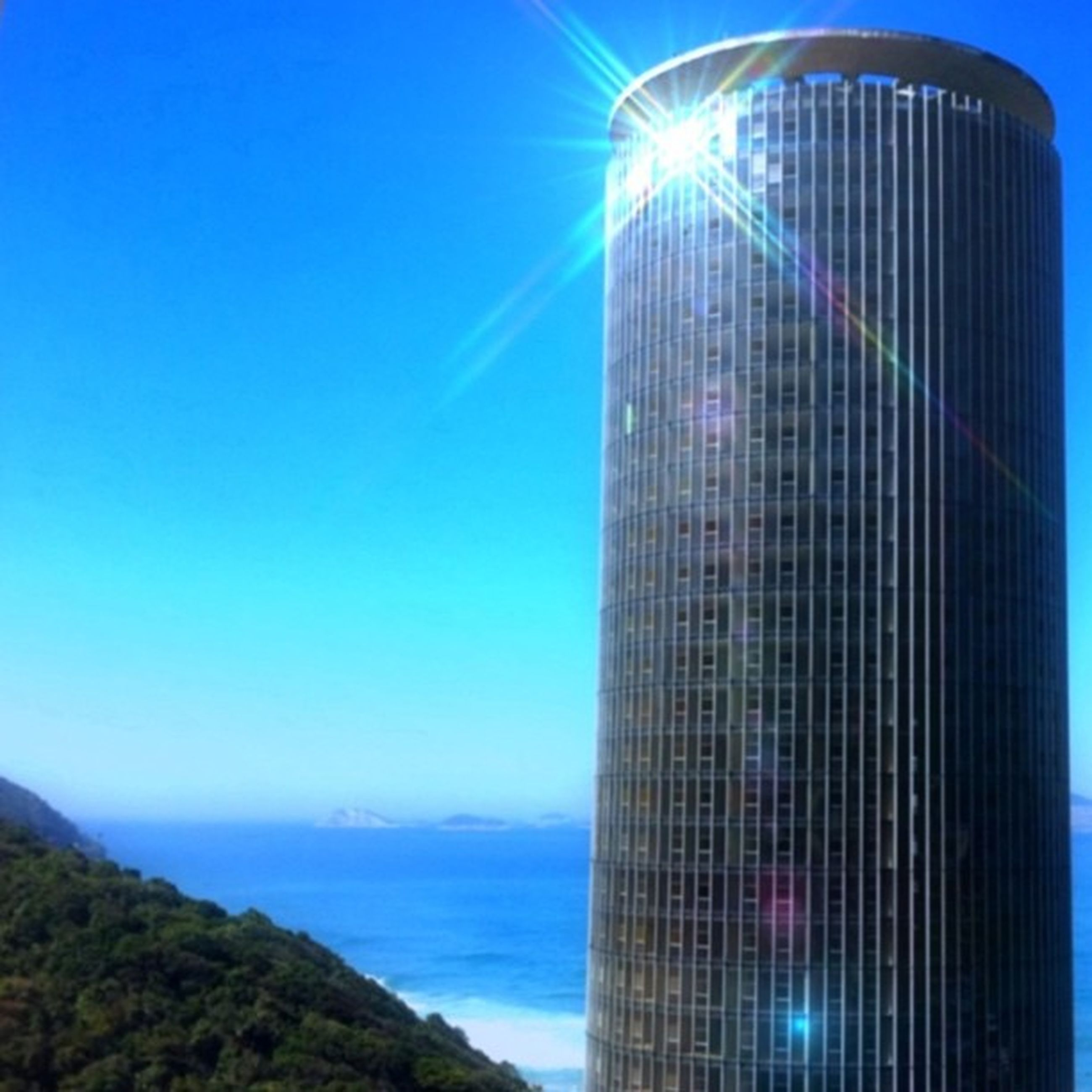 blue, architecture, built structure, building exterior, clear sky, city, modern, low angle view, skyscraper, tower, tall - high, office building, sky, outdoors, no people, copy space, reflection, sunlight, water, day