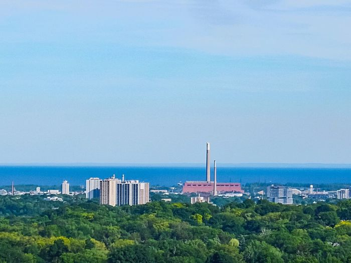 Lake Ontario Skyline Lake Ontario Blue Sky Lakeshore Lake View Lake Sea Plant Day Built Structure Beauty In Nature High Angle View