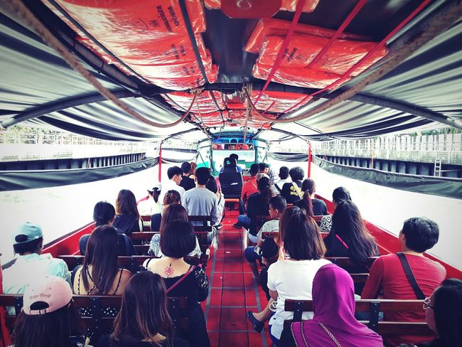 Boat Transportation People Sitting Indoors  Canal River Bangkok Thailand Ship Motorboat Passenger Chair Seat