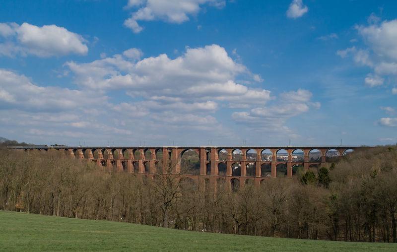 Panoramic view of bridge on field against sky