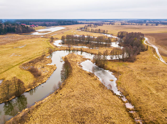 High angle view of river along landscape