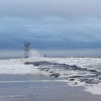 Waves crashing on the jetty.... Oceancitycool OceanCity Maryland Ocmd Weather