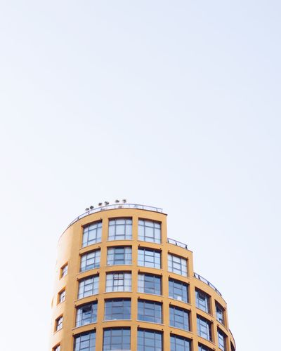 Architecture Building Exterior Built Structure City Clear Sky Copy Space Day London London Architecture Looking Up Low Angle View Minimal Minimalism Modern Architecture Modern Building No People Outdoors Residential Building The Architect - 2017 EyeEm Awards Window Yellow Yellow Building