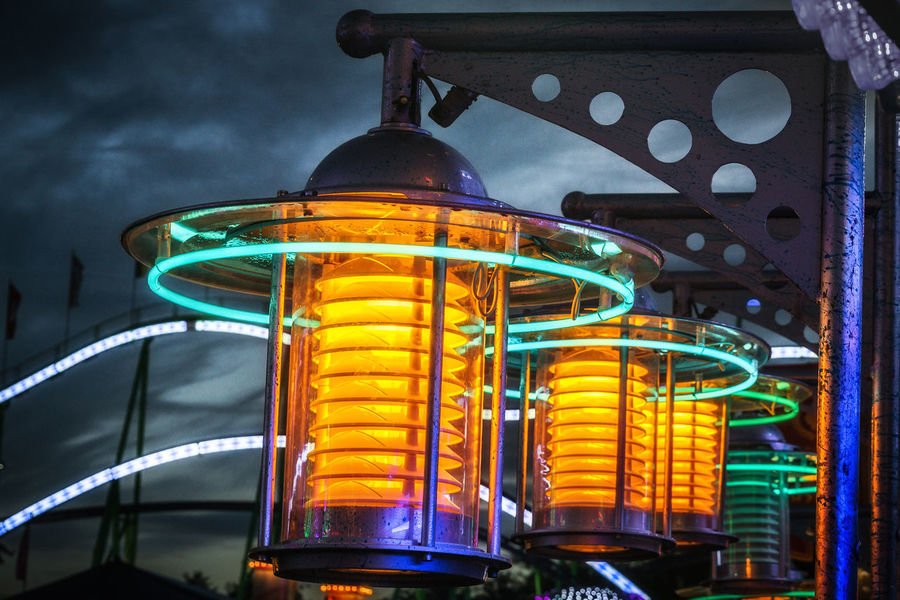 Cranger Kirmes  Lantern Light Night Lights Nightphotography Architecture Art Close-up Dusk Focus On Foreground Green Color Illuminated Lamp Lighting Equipment Low Angle View Metal Multi Colored Night No People Outdoors Pattern Steel Technology Transportation Yellow EyeEmNewHere