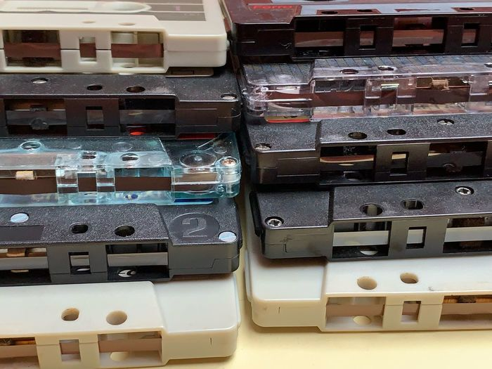 Cassette Tape Cassette Indoors  No People Technology Variation In A Row Choice Large Group Of Objects Container Close-up Box Business Finance And Industry Communication Business Order Equipment Still Life Arrangement Full Frame For Sale