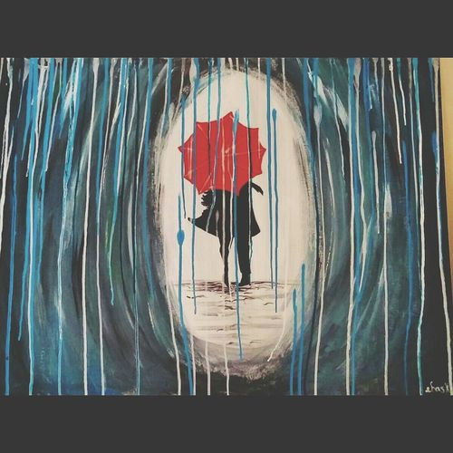 A painting i tried. Watching a see cate create demonstration. Art Rain Lovers Acrylic Painting