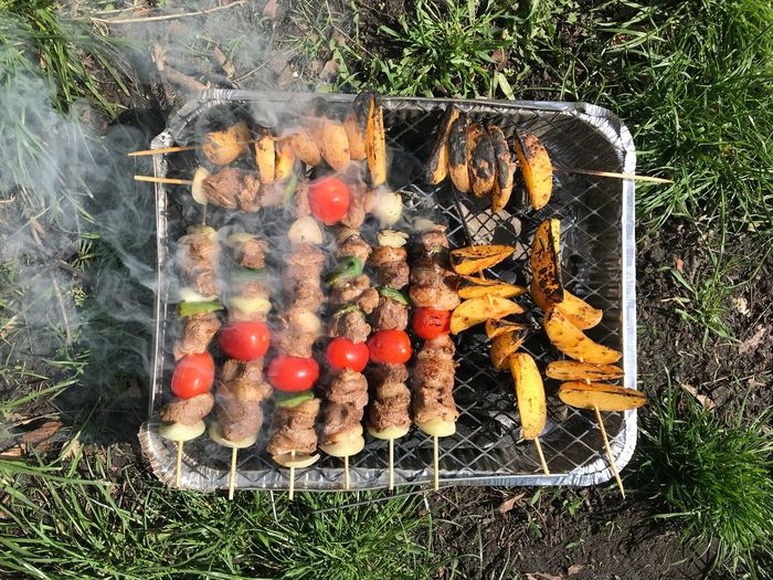Potatoes Fog Coal Tomato Chickens Meats BBQ No People Day Food Nature Food And Drink High Angle View Outdoors Close-up Sunlight Plant Directly Above Grass Large Group Of Objects Healthy Eating Multi Colored Creativity Arrangement