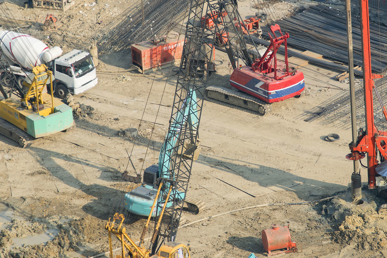 construction site, construction machinery, development, machinery, earth mover, industry, equipment, building - activity, construction worker, working, digging, day, outdoors, people