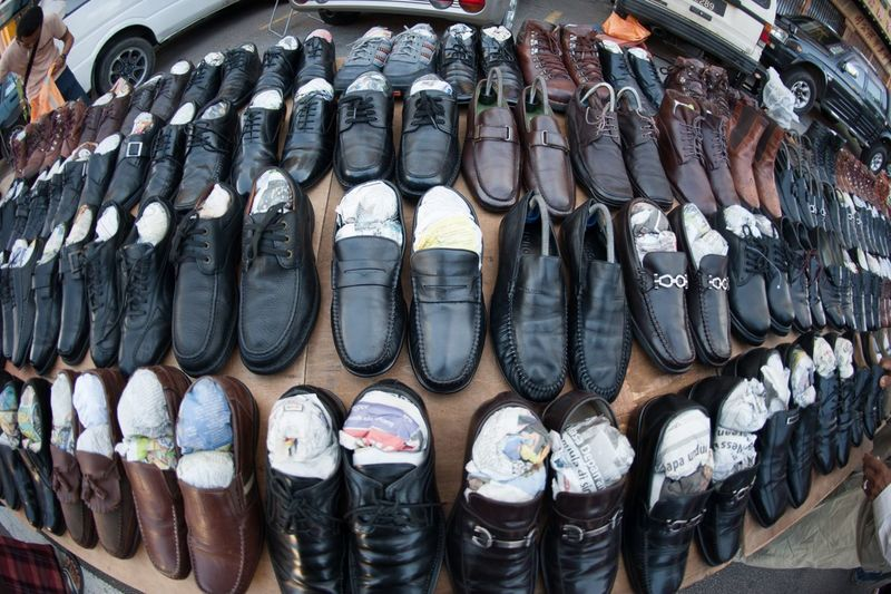Shoes Displayed On Street Market For Sale