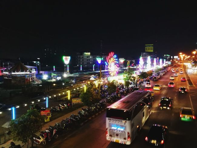 December 21' 2017 - Festival Night Sale in Bangkok, Thailand Shopping Time Walking Around Night Market In Thailand Night Illuminated City High Angle View Outdoors City Life Nightlife Car Cityscape Road Multi Colored