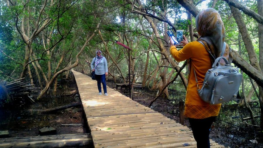 Enjoying Mangrove Forest in Muara Angke Mangrove Forest Taman Wisata Alam Mangrove Footbridge Forest Leisure Activity Mangrove Muara Angke Real People Walking