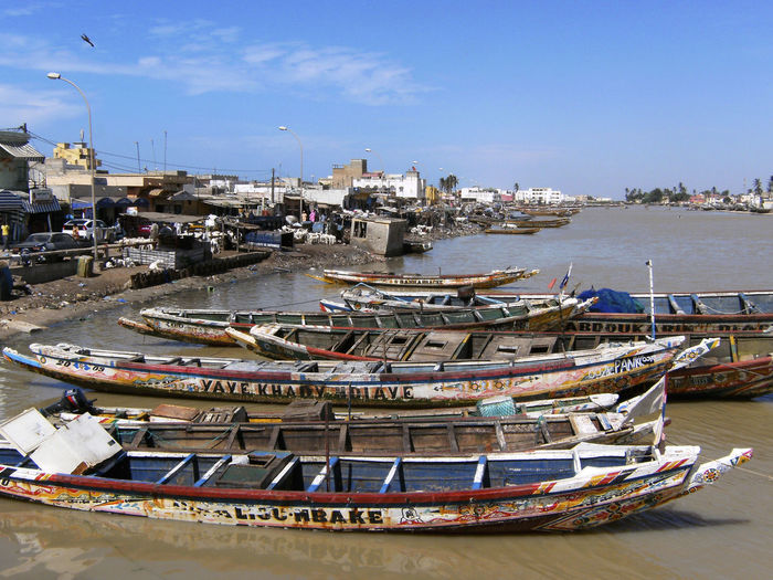 Senegal River in Saint-Louis, Senegal Harbor Harbour Moored Boats Saint-Louis Senegal River West Africa Africa Architecture City Day Moored Nautical Vessel Outdoors Saint Louis Senegal Water