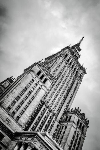 Low Angle View Of Cultural Palace In Warsaw Architecture Nature Sky Travel Tourism History Tilt The Past Poland Urban Photography Warsaw Travel Photography Black And White Photography Black & White Photography Urbanity No People Copy Space Low Angle View Travel Destination Cloud - Sky Building Exterior Built Structure B & W Photography Vertical Shot Cultural Palace City Office Building Exterior Tall - High Tower Skyscraper Ornate Spire  Gothic Style