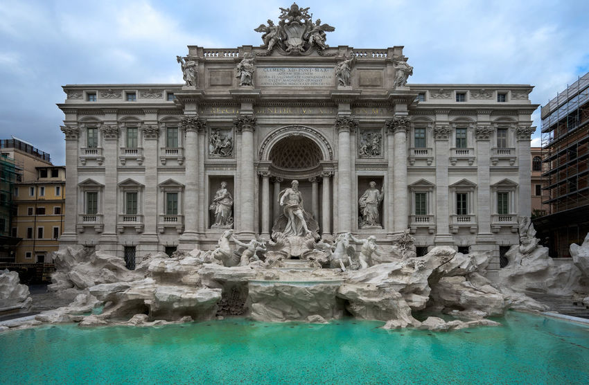 Rome Italy TreviFountain Trevi Fountain Europe Water Tourism Travel Statue Sculpture Outdoors Sky Trevi Fountain Travel Destinations Waterfront Famous Place Art And Craft Architecture Fontana History Fontana Di Trevi Cloud - Sky Europe Trip Rome Italy