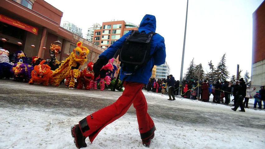 running to the spot Mobility In Mega Cities YYC Yyc Calgary Alberta Canada Chinese Culture Cny2018 Photographer At Work People Adult Only Men Day Men Outdoors Police Force One Man Only Adults Only City