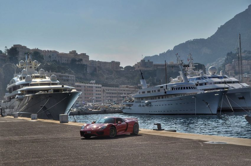 Typical Monaco Monday. Seeing The Sights Yacht Boats Harbour Monaco Montecarlo Monaco Côte D'Azur Red Cars Porsche918 Porsche Eye4photography  Supercar Boat IPhoneography Check This Out EyeEm Montecarlo Amazing View From My Point Of View Peace Eyeem Market Car Unique EyeEm Best Shots