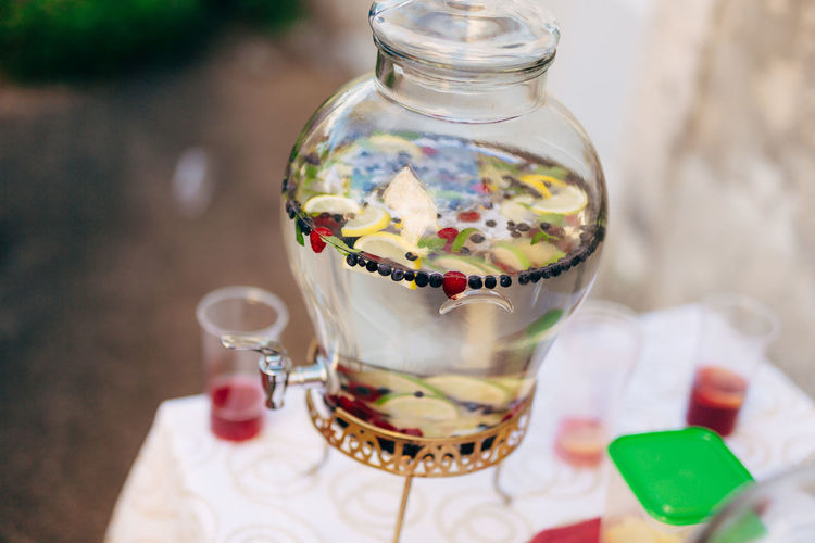 High angle view of drink in glass jar on table