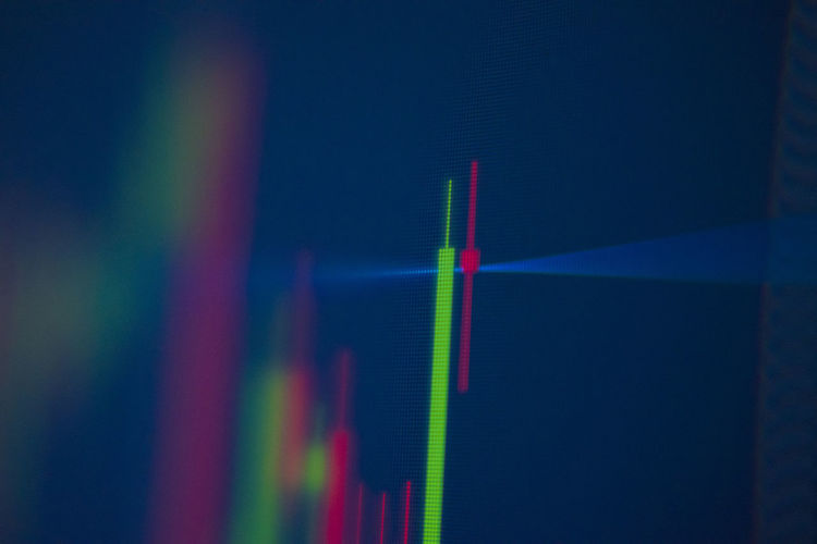 Stock chart Stock Chart Multi Colored Close-up Indoors  No People Technology Healthcare And Medicine Studio Shot Selective Focus Business Rainbow Red Pink Color Industry Analyzing Laser Light - Natural Phenomenon Accuracy Education Computer Monitor Corporate Business Flowing