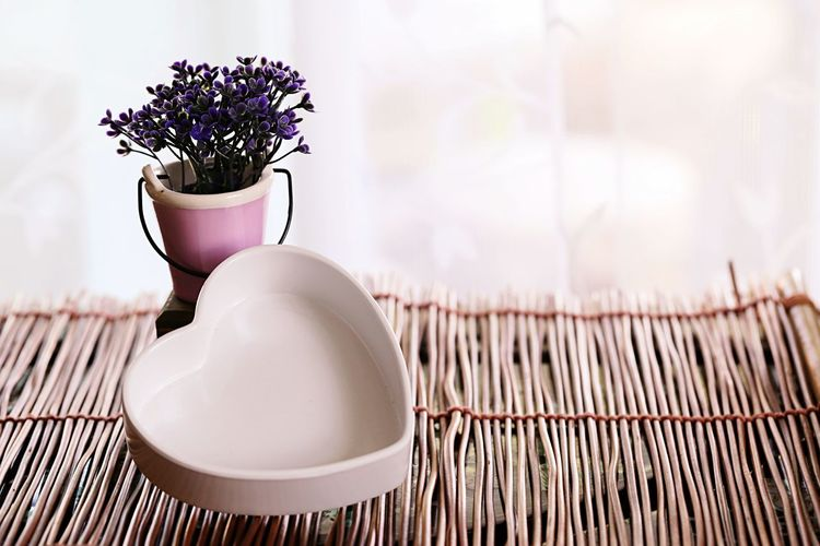 Close-up of potted plant and white heart shape on table background