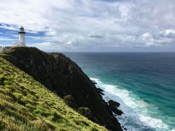 Byron Bay Byron Bay Lighthouse Beauty In Nature Cloud - Sky Horizon Lighthouse Nature Outdoors Sea Tranquil Scene