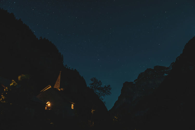 Moon Nights Alpine Church MoonNights Quiet Moments Alps Alps Switzerland Calfeisental Dark Blue Darkness And Light Full Moon Night  Lights In The Dark Longtimeexposure Moonlight Moonscapes Mountain Range Night Night Sky Nightscape Peaceful Scenics Silhouette Sky Stars Swiss Alps Switzerland