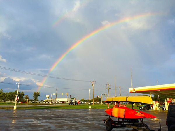 Sometimes forces align to make something beautiful in a place that isn't inherently so. Rainbow Multi Colored Cloud - Sky Natural Phenomenon Man Meets Nature Transportation Accidental Art Accidental Beauty Storm Cloud Traveling Gas Station Matching Notice how the canoe/kayaks match the Shell signage colors too!