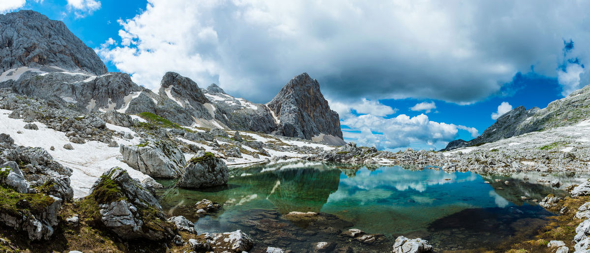 Reflection in one of the glacier lakes in Triglav national park Adventures Colorful Effect Exploring Glacier Hiking Lake Landscape Majestic Mirror Mountain Nature Panoramic Reflection Rock Rock Formation Scenics Slovenia Snow Summer Triglav National Park Water First Eyeem Photo