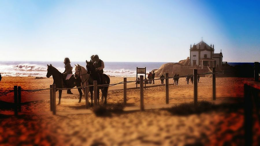 Let's Go. Together. Horse Sky People Adult Horseback Riding Adults Only Sea Domestic Animals Only Men Outdoors Mammal Animal Themes Water Day Summer Beach Nature Happiness Adult Beauty In Nature Sand Low Tide Be Brave