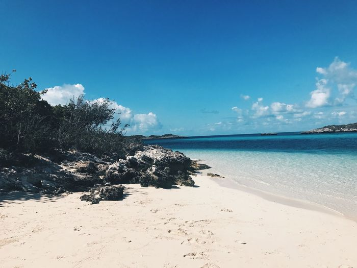 Bahamas Sea Tranquility Beach Sky Blue Scenics Tranquil Scene Nature Beauty In Nature Cloud - Sky Sand Water Day Tree Horizon Over Water No People Outdoors First Eyeem Photo
