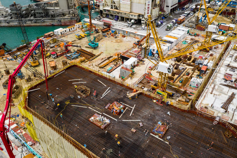 High angle view of construction site by pier