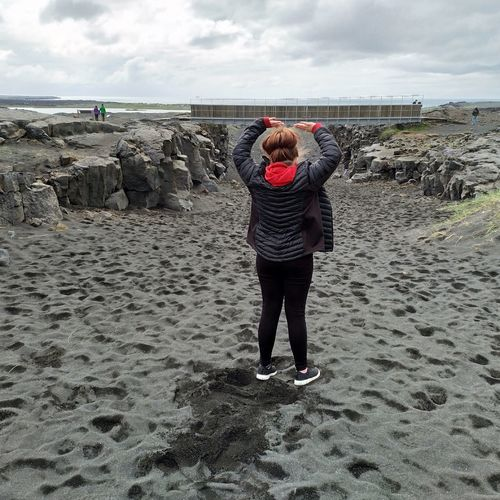 Bridge Reykjanes Geopark Bridgebetweencontinents Water Sea Beach Warm Clothing Women Full Length