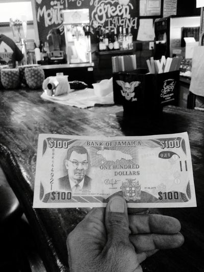 Showcase July Jamacan Money $100.00 Money Around The World Currency Greyscale Black And White Photography Bar