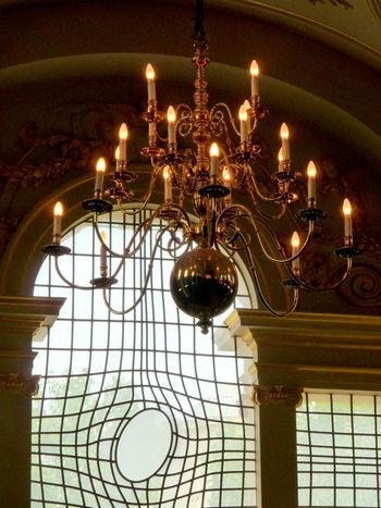 Chandelier Deformation Illuminated Indoors  Lamp Lighting Equipment London No People Window