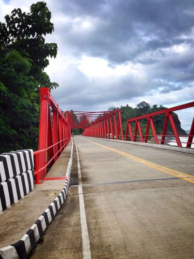 Ampere Dipaculao brigde Red The Way Forward Sky Tree Cloud - Sky Day No People Outdoors Built Structure Road Architecture EyeEmNewHere