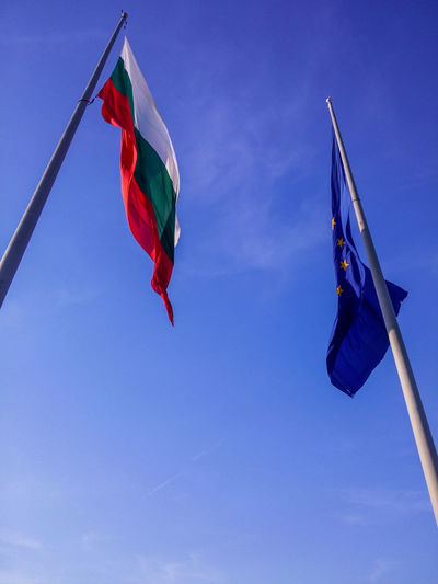Bułgaria Blue Day Europe Flag Flying Low Angle View No People Outdoors Patriotism Pride Red Sky Waving Wind България