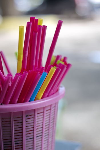 Art And Craft Art And Craft Equipment Basket Choice Close-up Container Creativity Day Drinking Straw Focus On Foreground Food And Drink Indoors  Large Group Of Objects Multi Colored No People Pink Color Selective Focus Still Life Straw Variation Writing Instrument