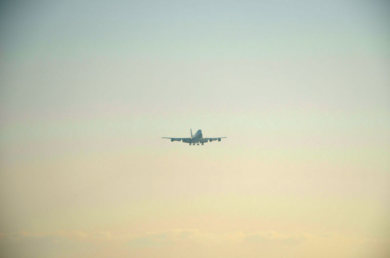 Airplane Blue Clear Sky Cloudscape Flying Freedom Sky Sky And Clouds Skylovers Sunset Yellow
