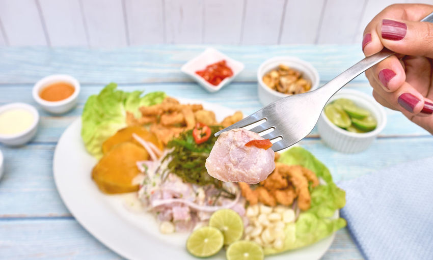 High angle view of food served in plate