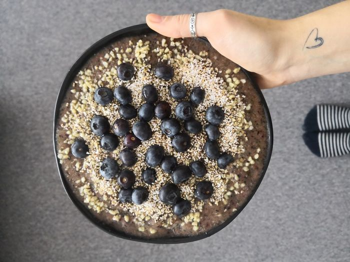 Smoothie Bowl Vegetarian Food Healthy Eating Vegan Directly Above High Angle View Close-up Food And Drink Ready-to-eat Prepared Food Serving Size